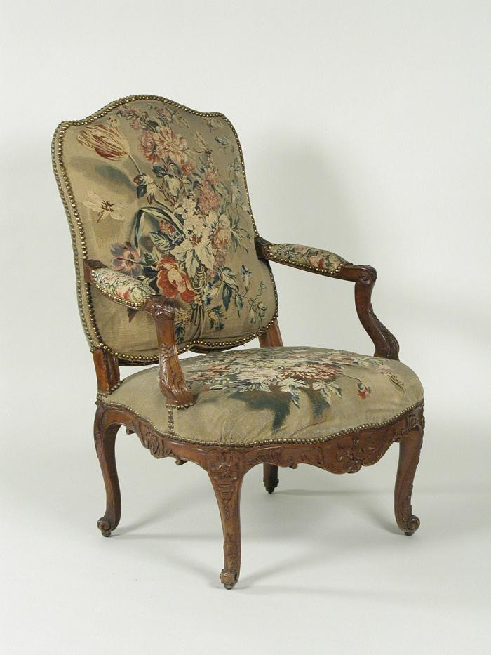 Armchair with Tapestry Cover Showing Bouquets of Flowers, three-quarters view