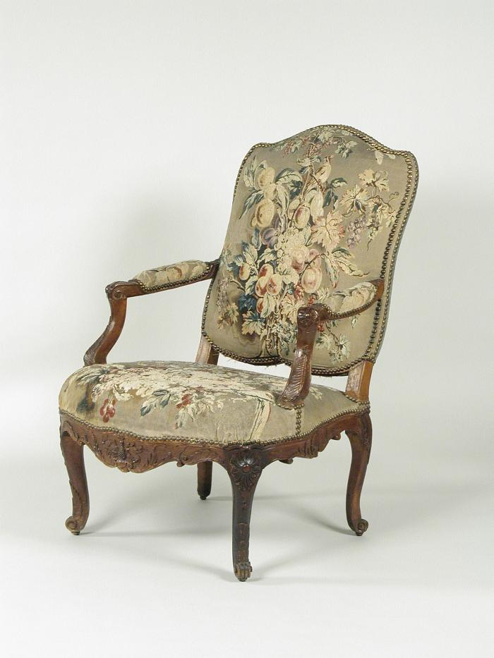 Armchair with Tapestry Covers Showing Fruit, three-quarters view