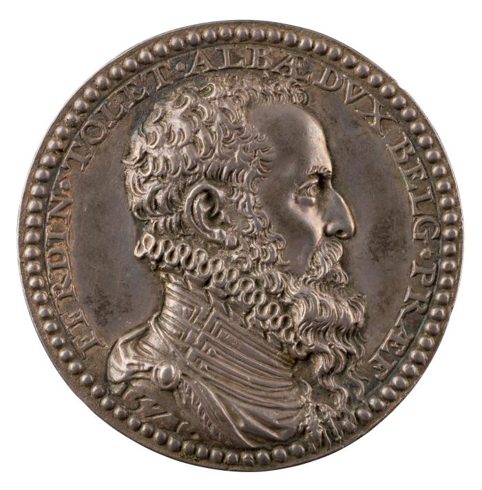 Silver portrait medal of the Duke of Alba.  He is shown in profile on his right side.  He wears a high ruffled collar, and has curly hair with a full and long beard.