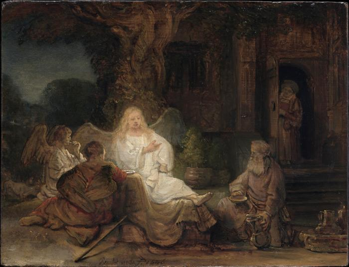 Oil painting depicting Abraham entertaining the angels under a large tree while a woman looks on from an open doorway to the right and behind the scene.