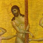 close-up of a tempera painting of the flagellation of Christ against a gold background