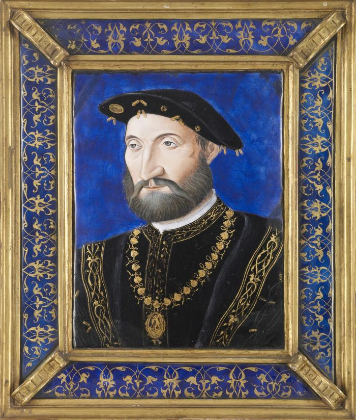 Front view of polychrome enamel plaque representing Guy Chabot, Baron de Jarnac, in a gilt metal and enamel frame