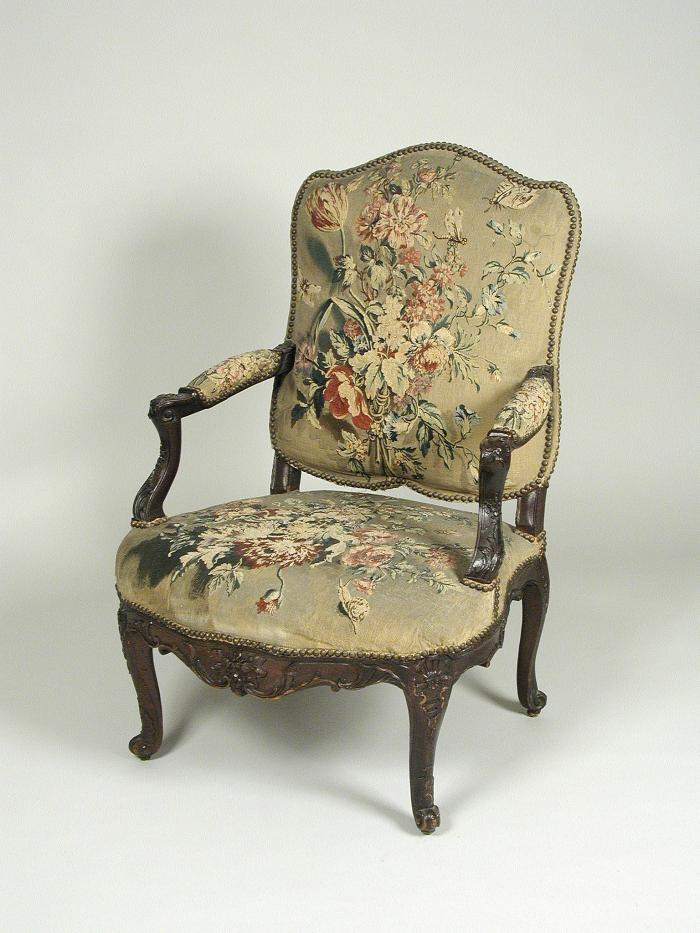 Armchair with Tapestry Cover Showing Bouquets of Flowers