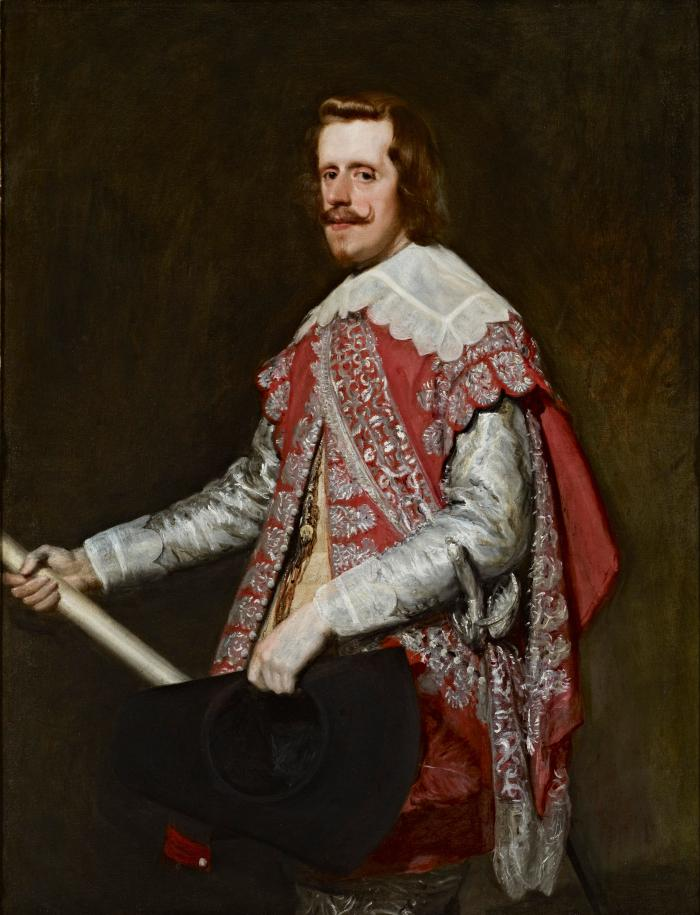 oil painting of King Philip IV of Spain dressed in a silver and rose costume and holding a black felt hat and ivory-colored baton