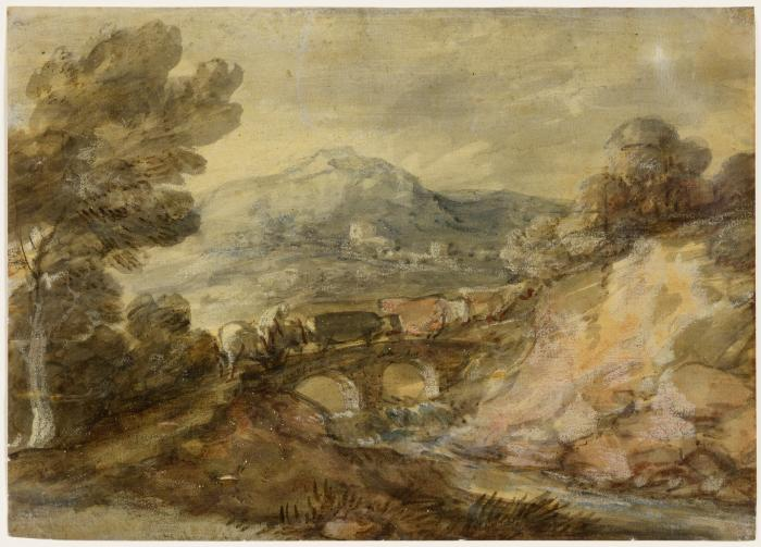 Oil paint sketch of a landscape with cattle crossing a bridge.