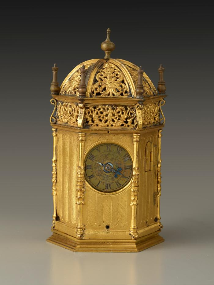Front view of French Renaissance Gilt Brass Table Clock with a Later Movement