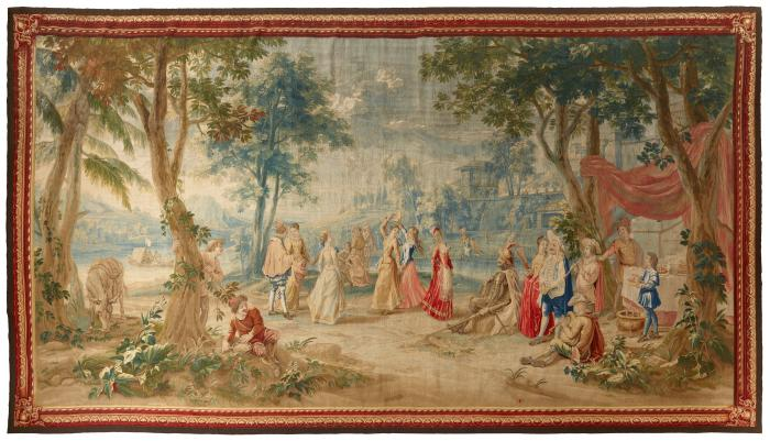 Woven tapestry depicting shepherdesses arriving at a wedding