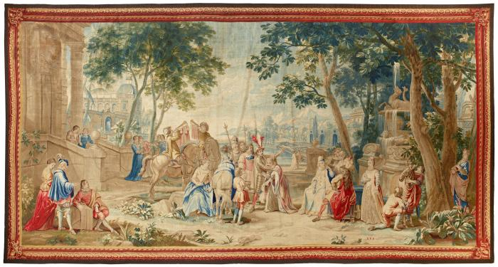 Woven tapestry depicting figures near a harbor