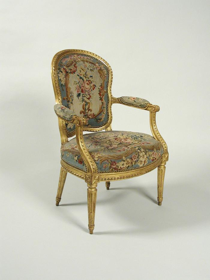 Armchair with Tapestry Covers Showing Flowers on Blue Grounds