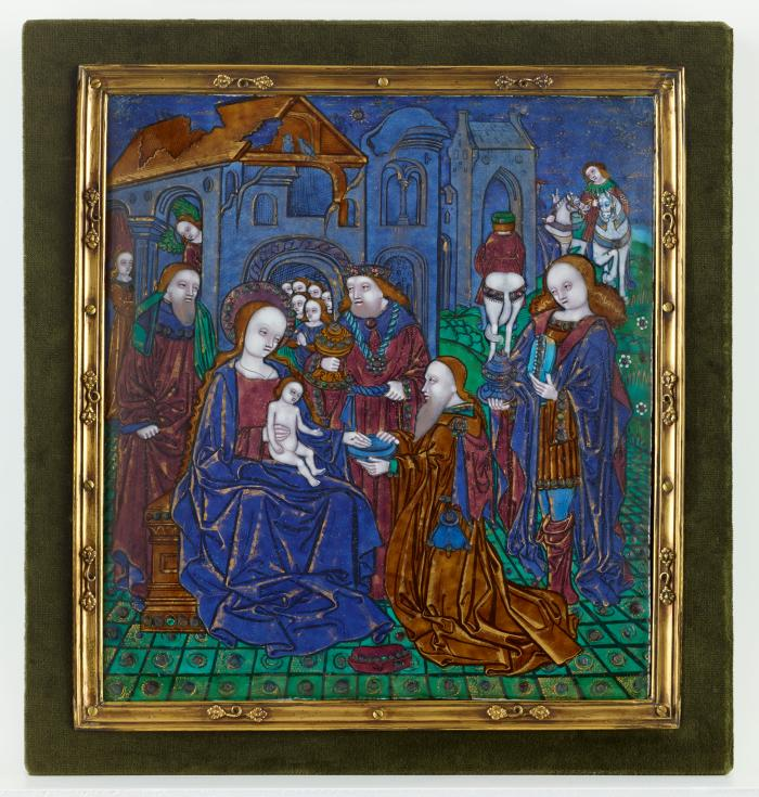 Front image of polychrome enameled plaque depicting The Adoration of the Magi