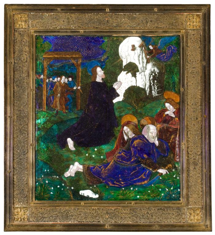 Front view of an enamel plaque representing The Agony in the Garden in its decorative frame of gilt copper