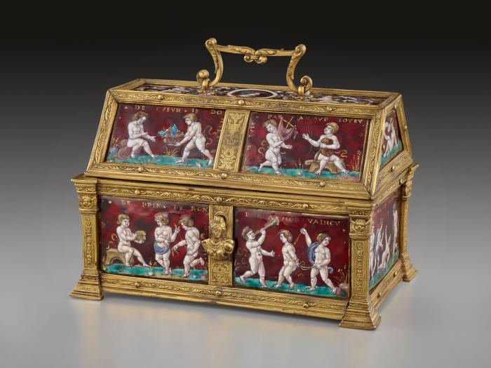 Front view of enameled and gilt copper Casket with scenes depicting Putti and Mottoes of Courtly Love