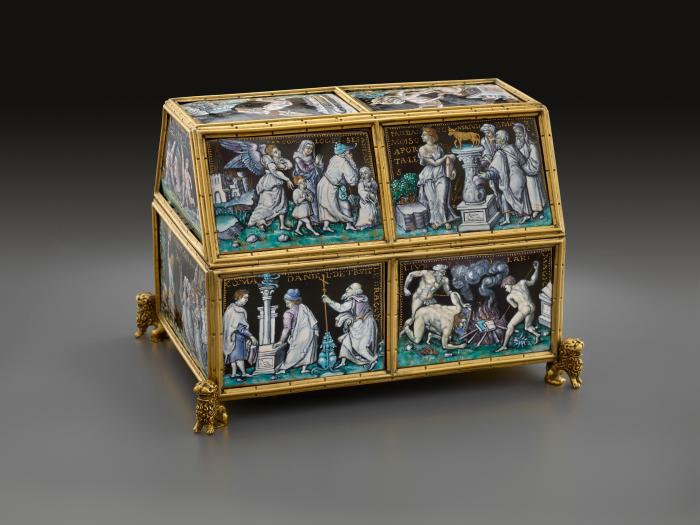 Front view of polychrome enameled casket in a structure of gilt bronze with Old Testament Subjects