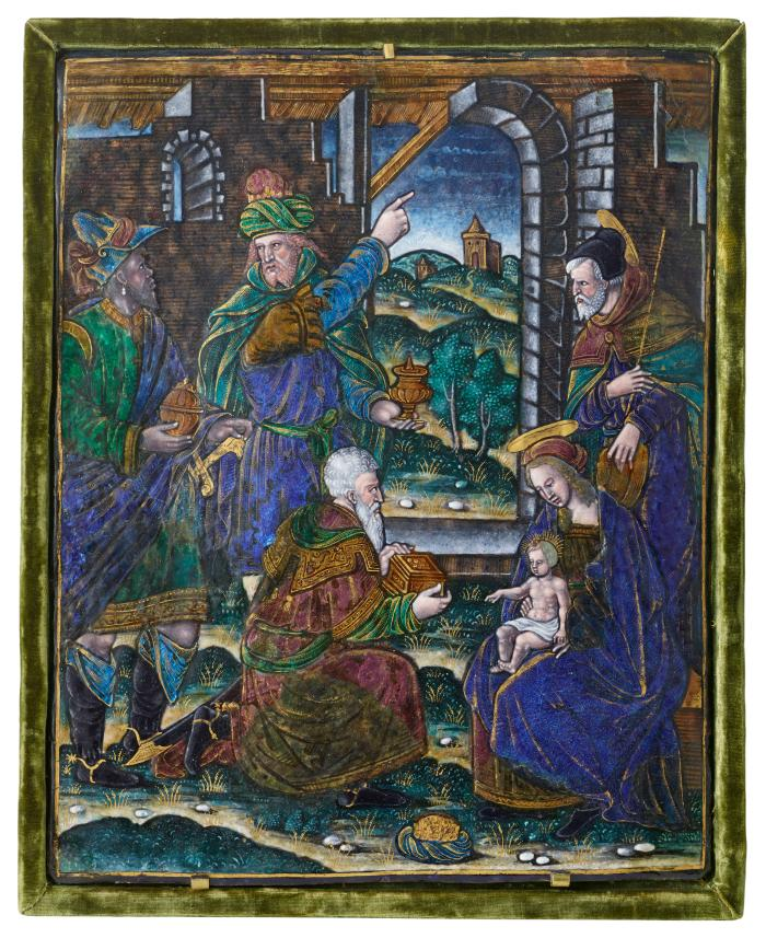 Polychrome enamel plaque representing The Adoration of the Magi