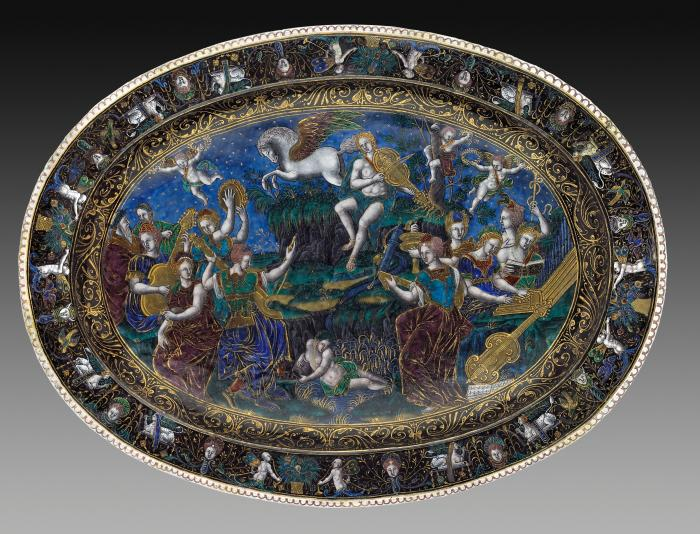 View of polychrome enameled oval dish seen from above depicting Apollo and the Muses as well as Fame