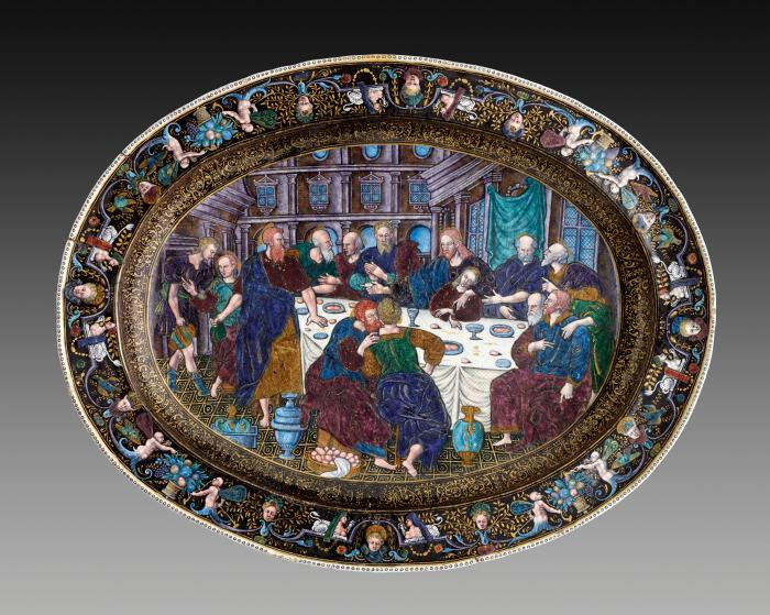 Front view of large oval polychrome enameled dish depicting the Last Supper