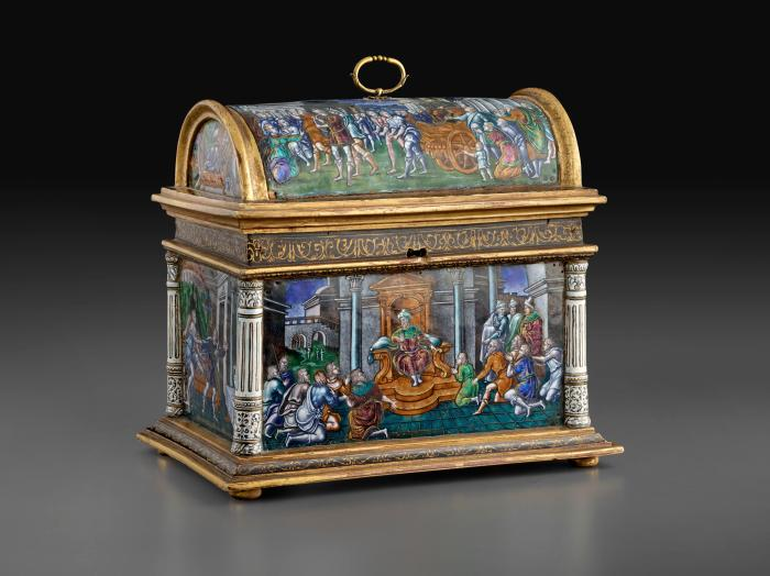 Front view of casket in polychrome enamel and gilt bronze with Scenes from the Story of Joseph