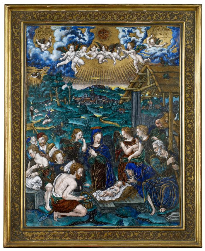 Front view of polychrome enamel plaque depicting the Adoration of the Shepherds