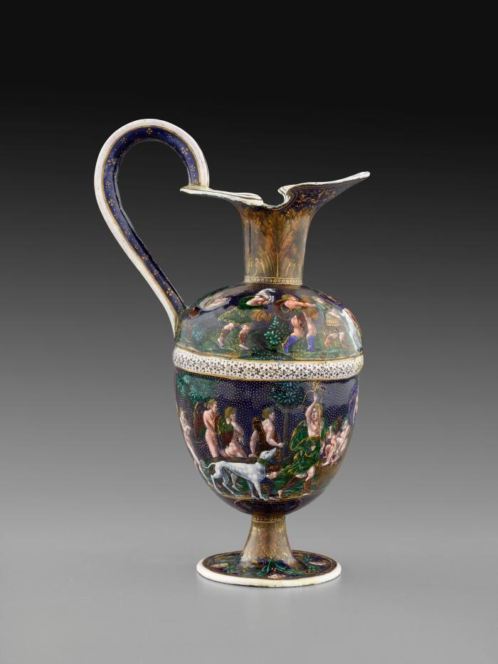 Side view of polychrome enamel ewer depicting the Triumph of Bacchus and the Triumph of Diana