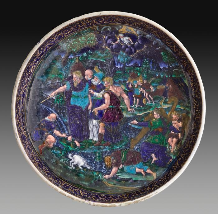 View from above of polychrome enamel cup with Moses Striking the Rock