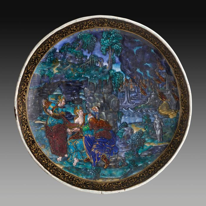 View taken from above of polychrome enameled cup depicting Lot and His Daughters