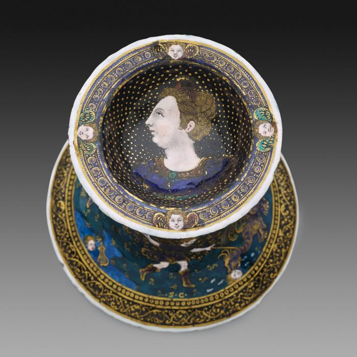 View from above of one of a pair of saltcellars decorated with polychrome enamel Scenes from the Story of Orpheus. This view shows the bowl with profile of Juno