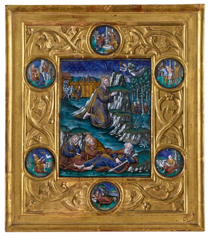 Enamel in gold frame with enamel medallions