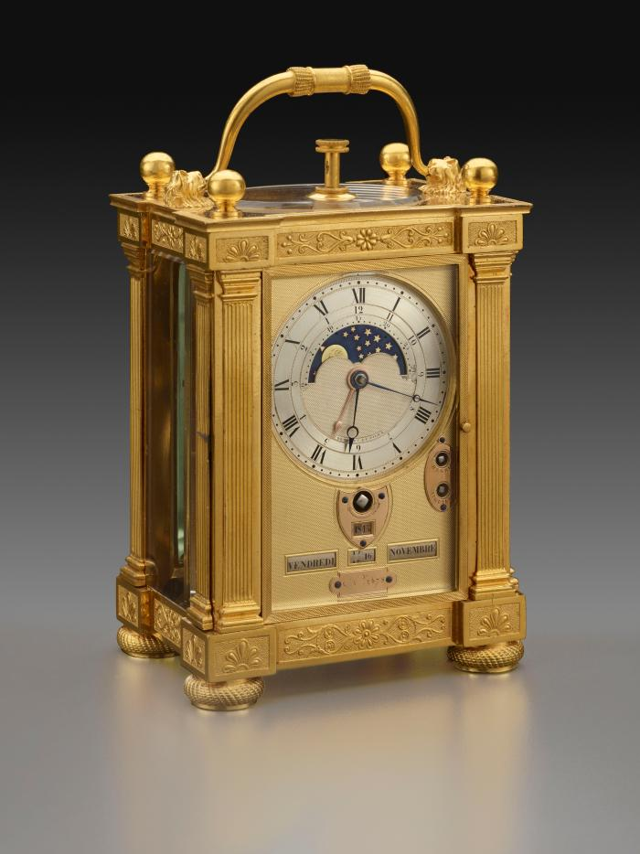 Three-quarter front view of Carriage Clock with Calendar in a neoclassical gilt bronze case