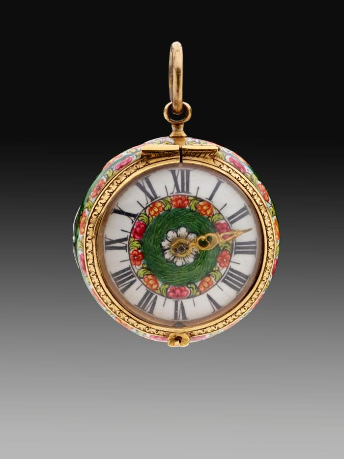 Frontal view of Pendant Watch with enamed dial framed in gilt bronze