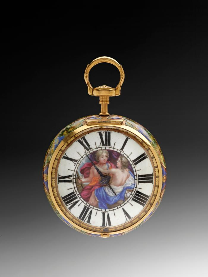 Front view of Pendant Watch with enameled polycrhome dial decorated in the center with an image of two draped female figures in embrace
