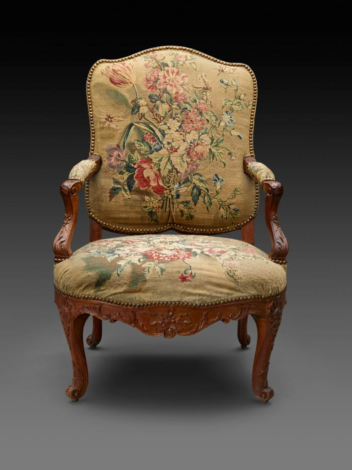 Armchair with Tapestry Covers Showing Fruit