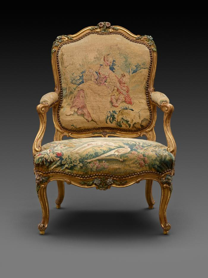 Front view of Armchair with Gilt and Polychrome Frame and Beauvais Tapestry Cover Showing Pastoral Scenes