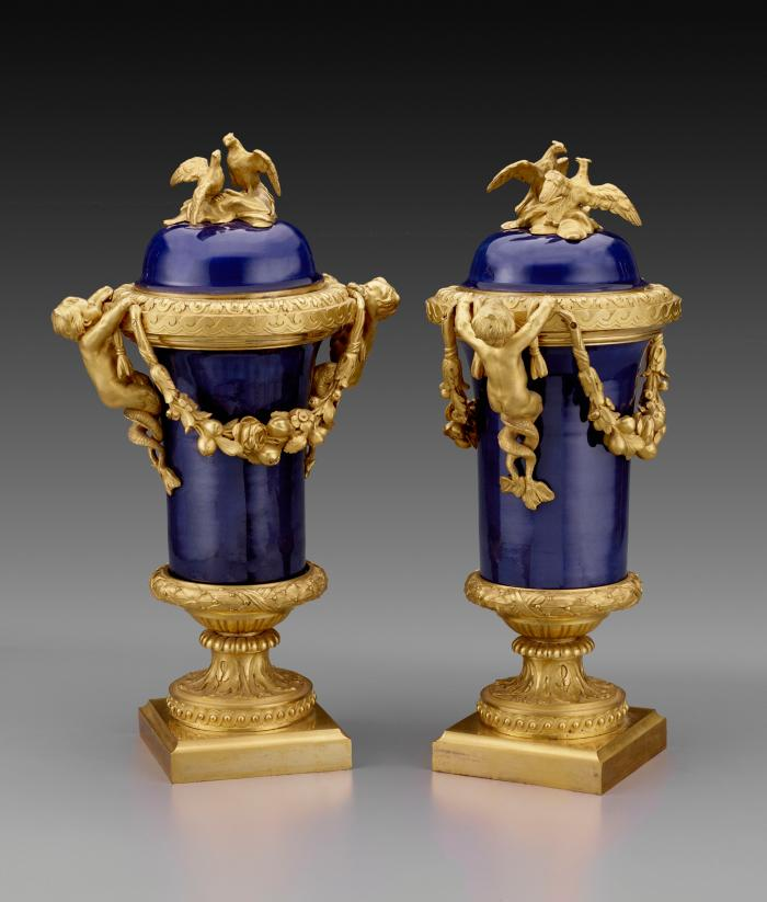 Pair of blue porcelain covered vases mounted with gilt bronze