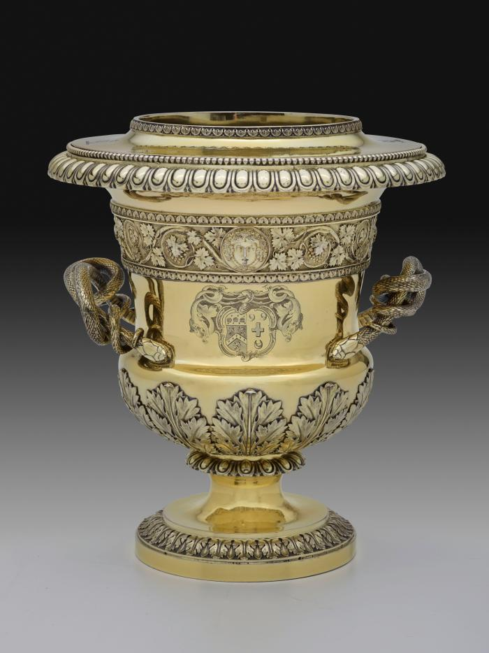 Gilt silver wine cooler with branch handles and family crest