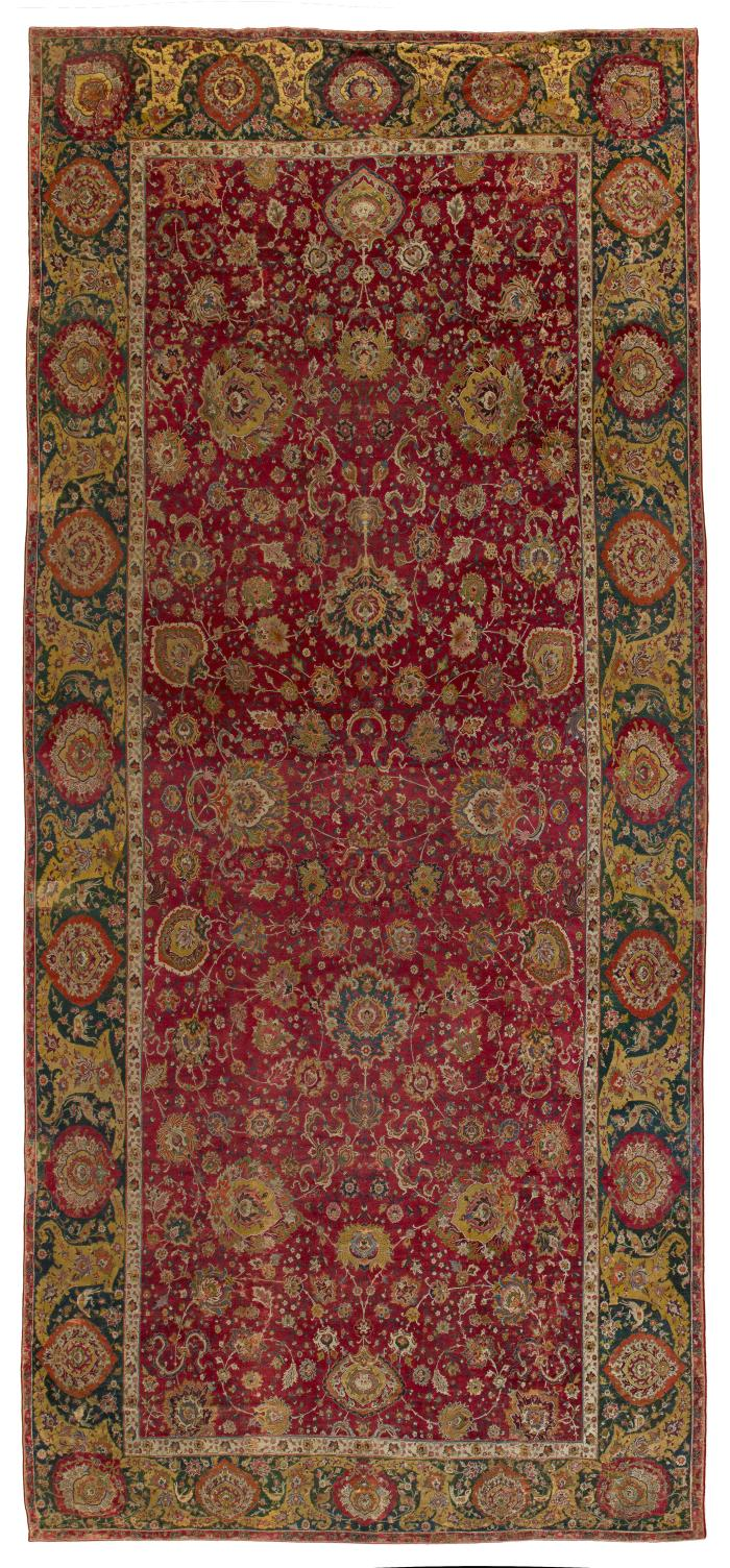Dark red rectangular Persian rug with floral design