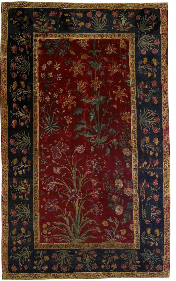 Dark red and dark blue rectangular Indian rug with floral design