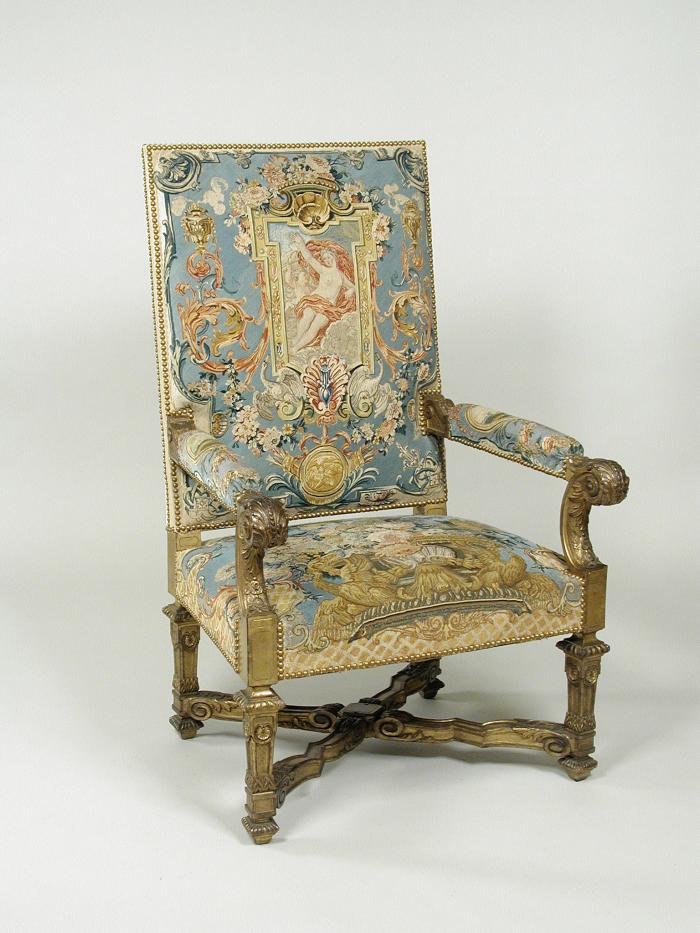 Armchair Showing Grotesque Compositions on Beige or Blue Grounds (Part of a Set of One Canapé and Four Armchairs)