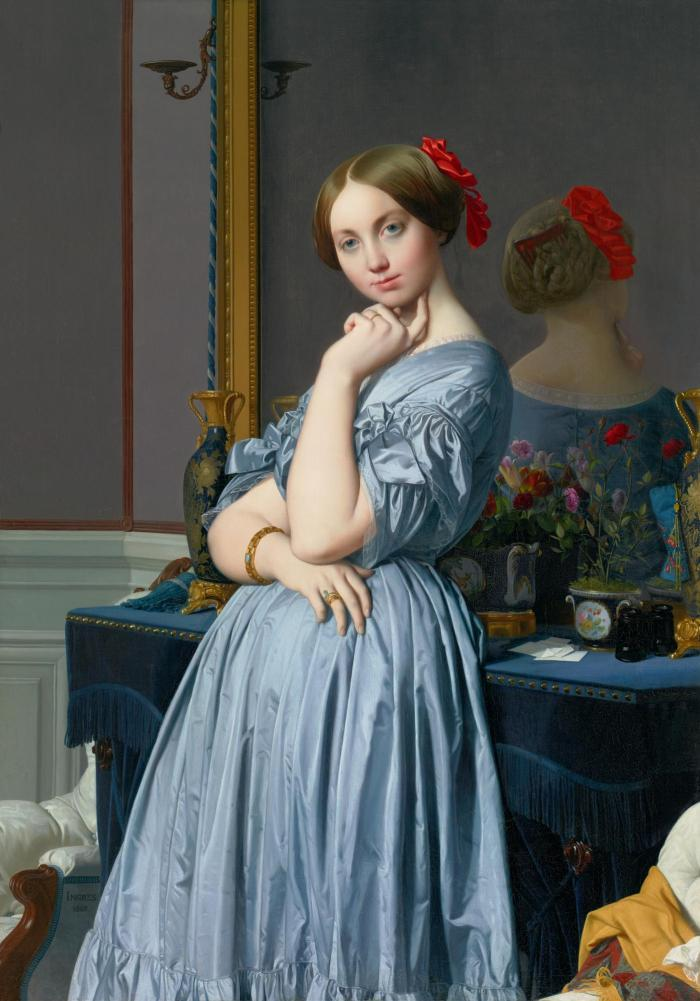 oil painting of a woman in a blue dress leaning against a dresser in front of a mirror