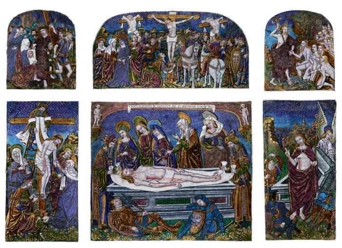 Front view of a Double-Tiered enameled polychrome Triptych depicting Scenes from the Passion of Christ