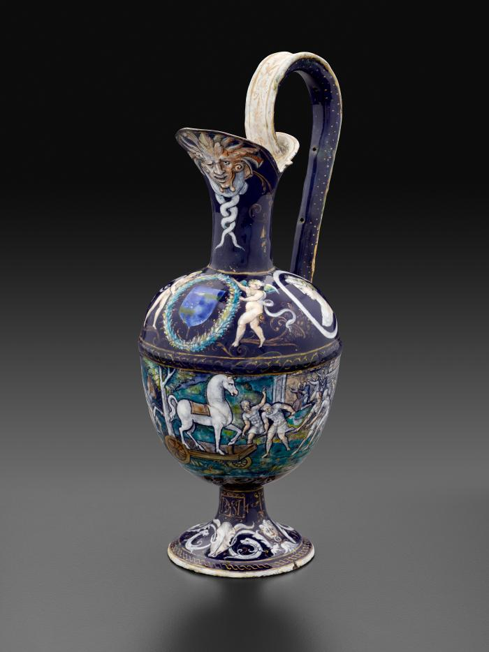 Front view of an enameled Ewer with scenes depicting The Trojan Horse and A Cavalry Combat