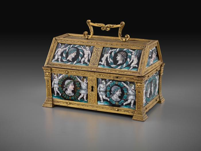 Front view of gilt bronze and enamel Casket with Heads of the Caesars within Wreaths