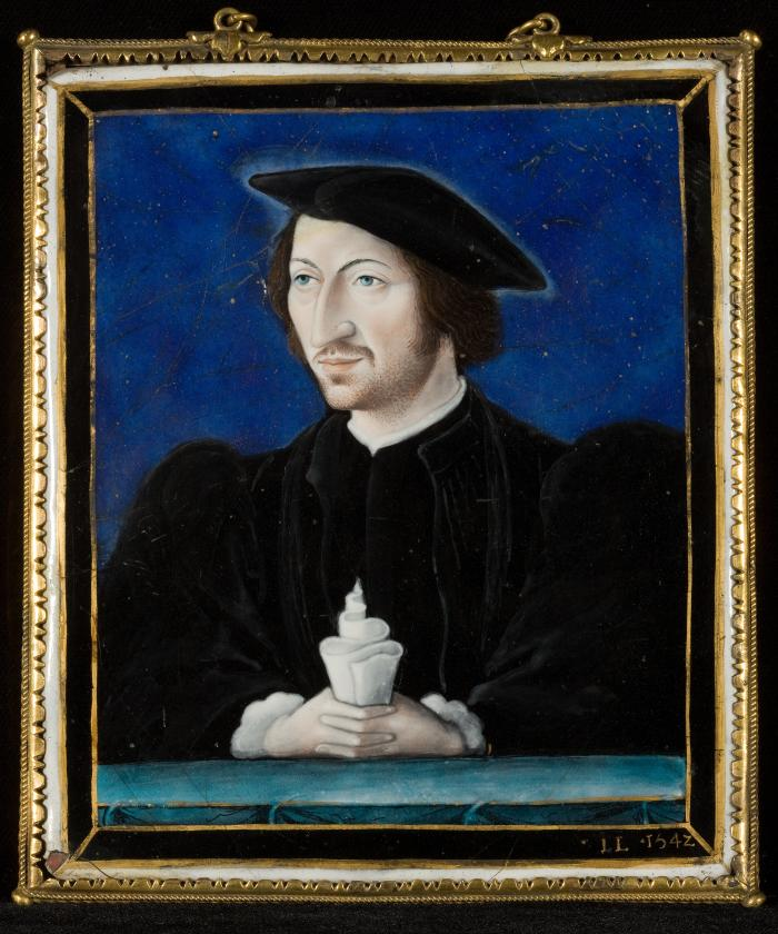 Front image of enamel polychrome plaque depicting a man in Renaissance style dress