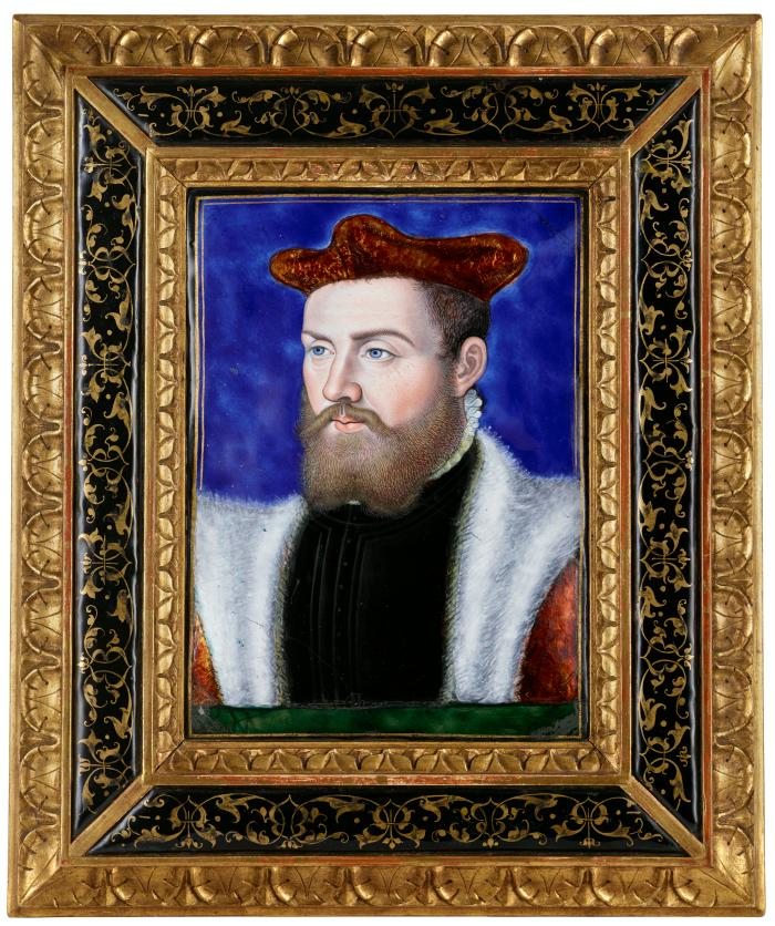 Front view of polychrome enamel portrait of Odet de Coligny, Cardinal de Chatillon (1515–1571) framed in gilt wood