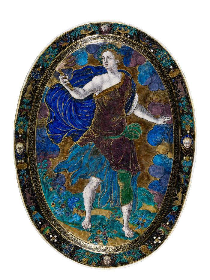 Frontal view of a polychrome enameled oval dish depicting Ceres Holding a Torch