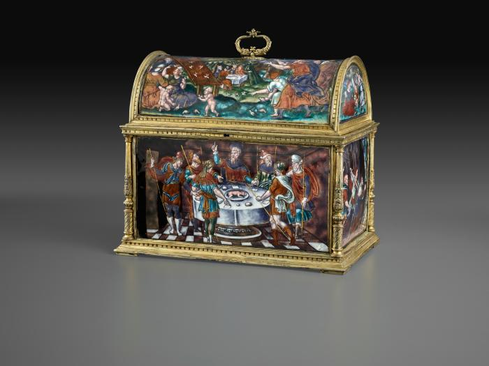 Front view of enameled casket with Old Testament Subjects