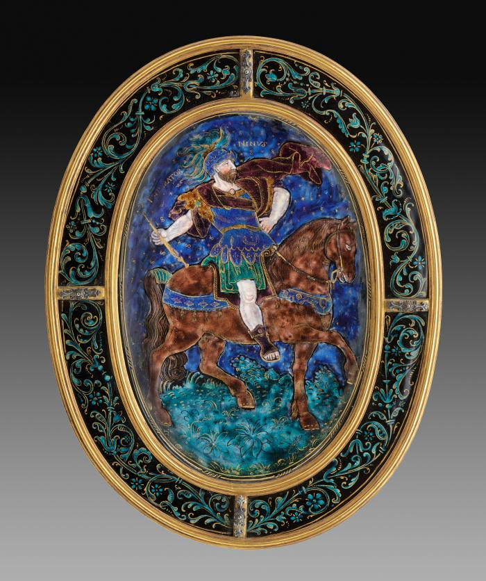 Oval enamel plaque depicting Ninus, King of Nineveh