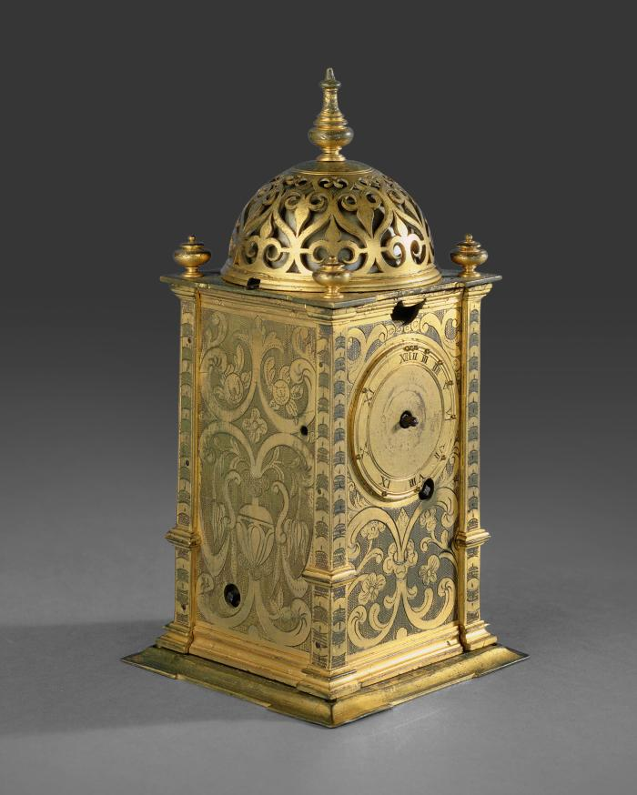 Three-quarter frontal view of Gilt-Brass Tower Table Clock