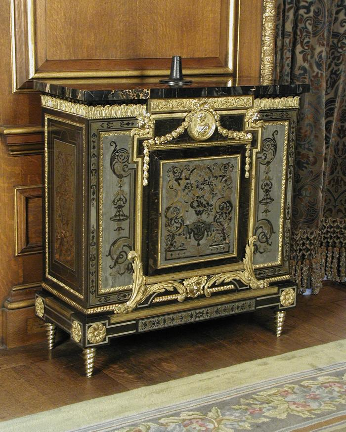 Cabinet with Pictorial and Tendril Marquetry of Tortoiseshell, Brass, Pewter, and Ebony (One of a Pair)