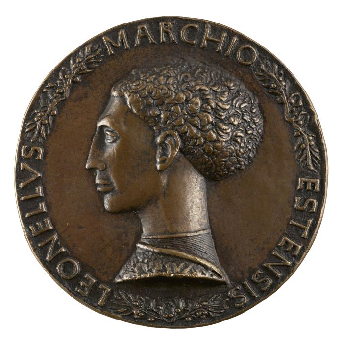 Bronze portrait medal of Leonello d'Este in profile to the left